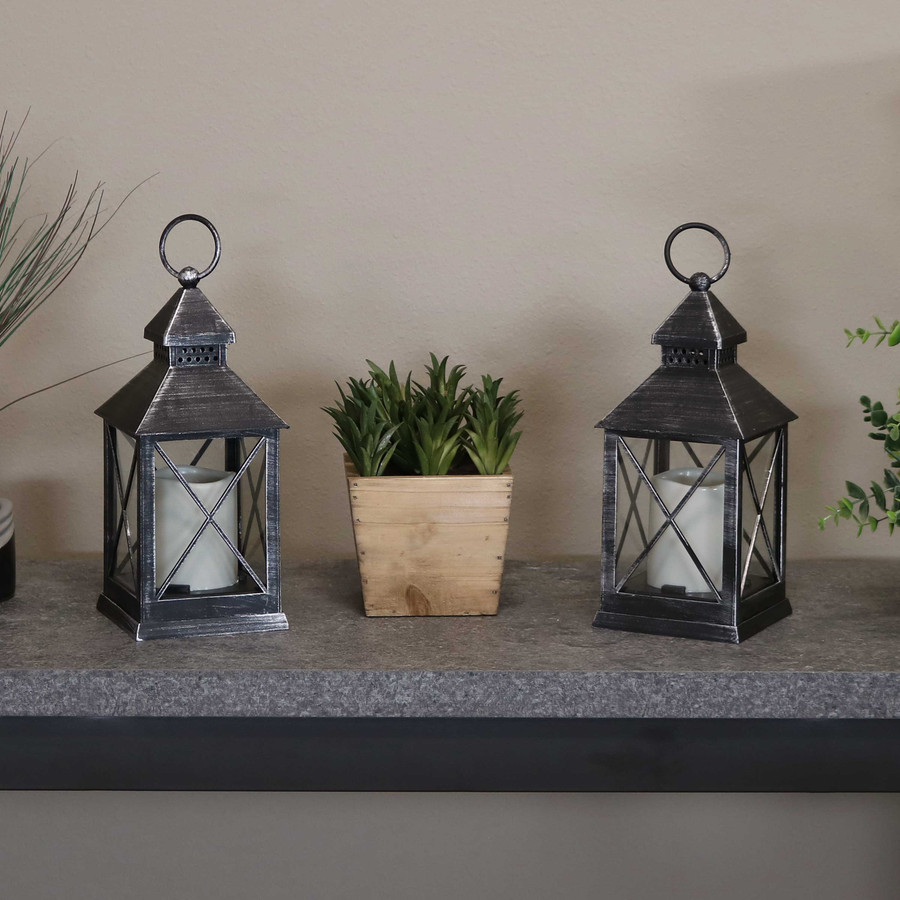 Yorktown Indoor Decorative LED Candle Lantern, Set of 2, Lights Off