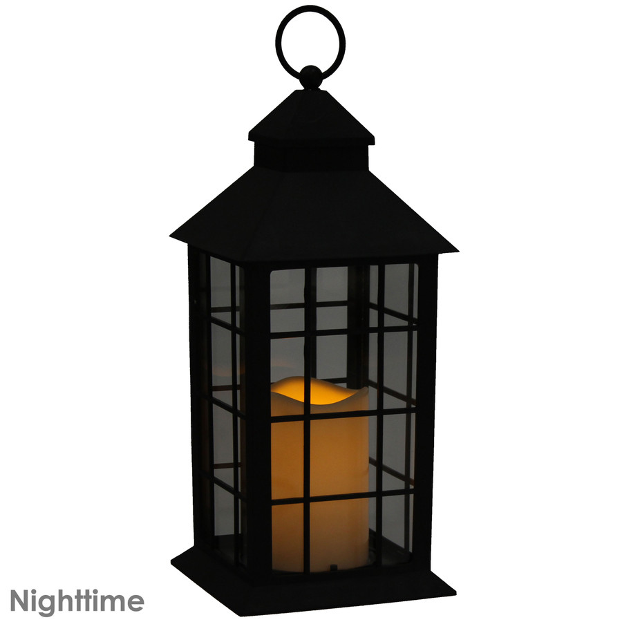 Fairfax Indoor Decorative LED Candle Lantern, Nighttime