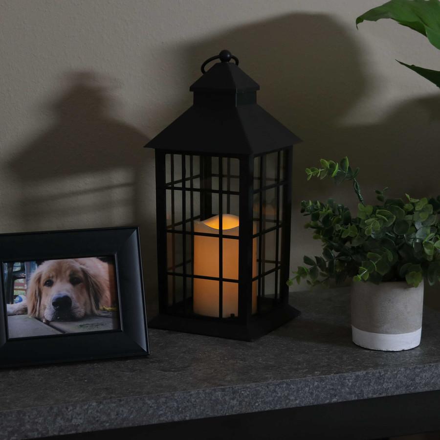 Fairfax Indoor Decorative LED Candle Lantern, Single, Nighttime