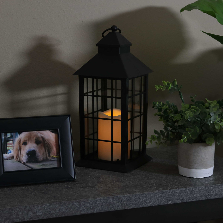 Fairfax Indoor Decorative LED Candle Lantern, Single, Nighttime