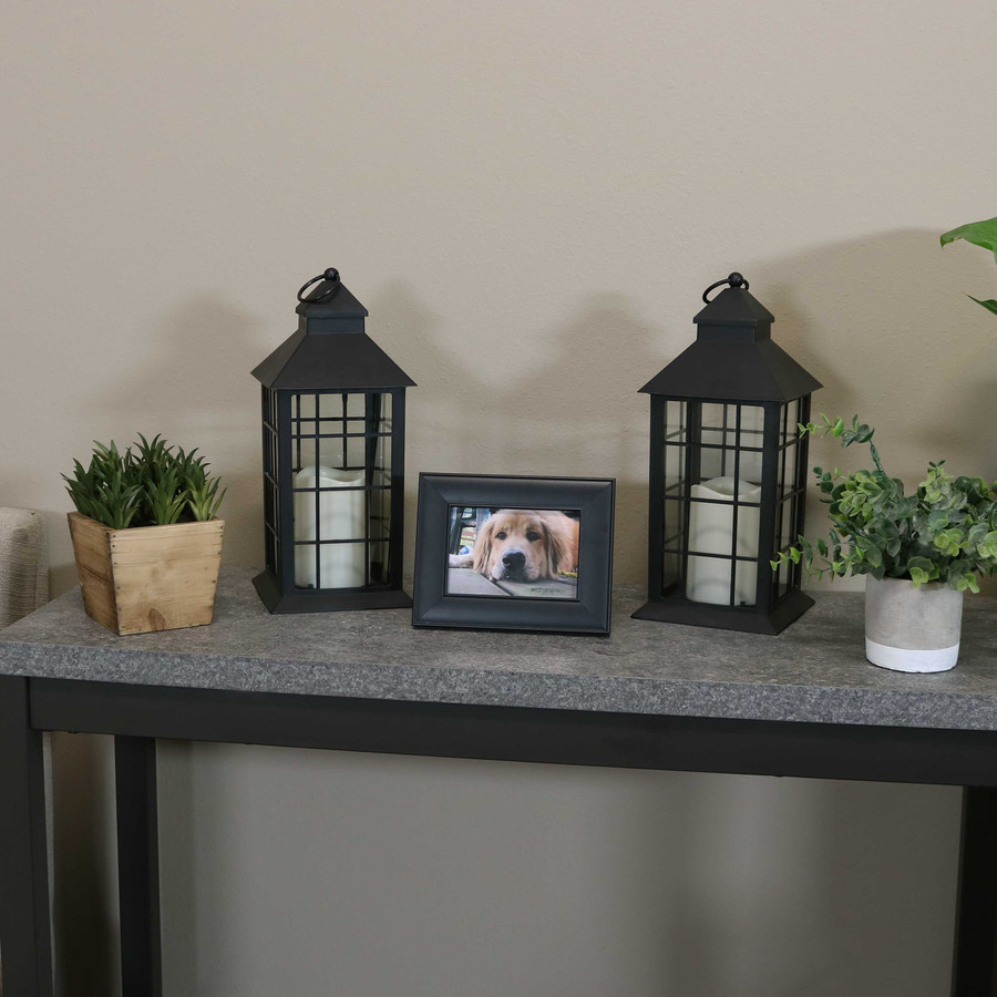 Fairfax Indoor Decorative LED Candle Lantern, Set of 2 with Lights Off