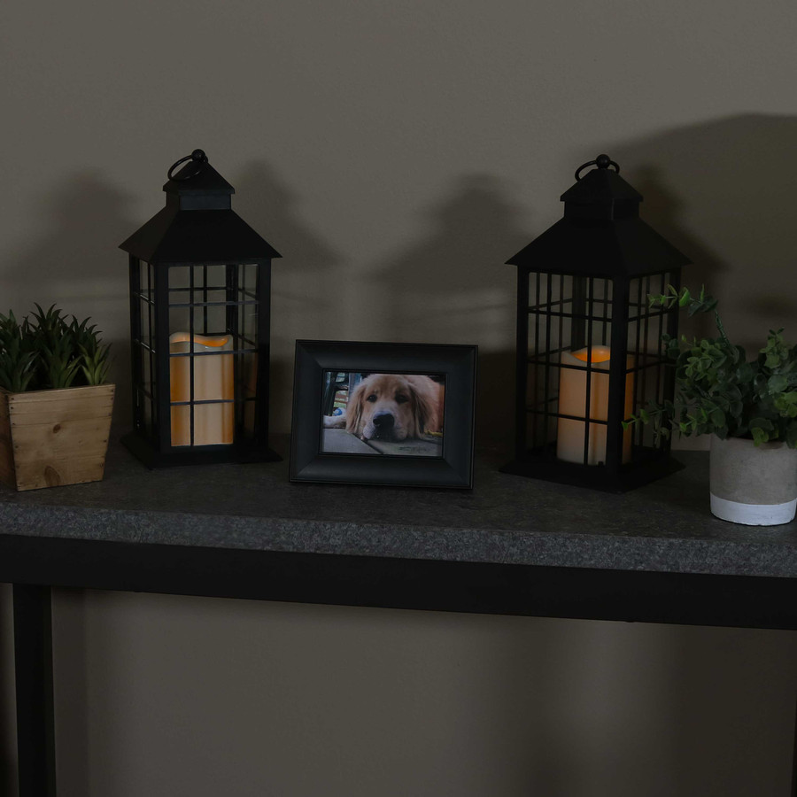Fairfax Indoor Decorative LED Candle Lantern, Set of 2, Nighttime