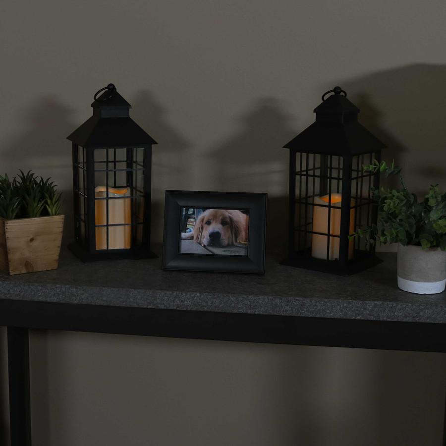 Fairfax Indoor Decorative LED Candle Lantern, Set of 2, Nighttime