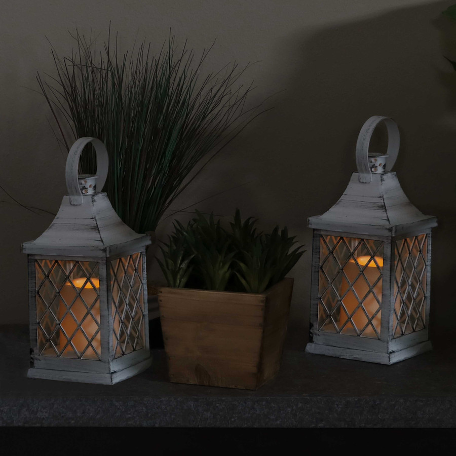Ligonier Indoor Decorative LED Candle Lantern, Set of 2, Nighttime