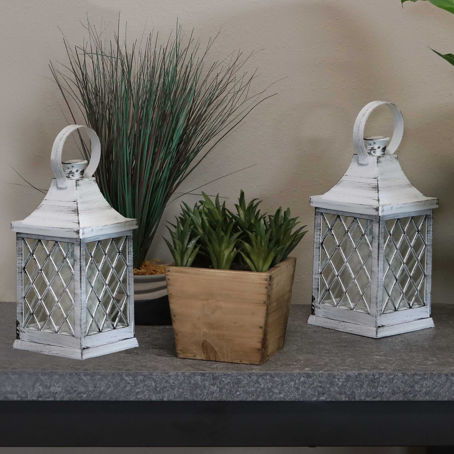Ligonier Indoor Decorative LED Candle Lantern, Set of 2, Lights Off