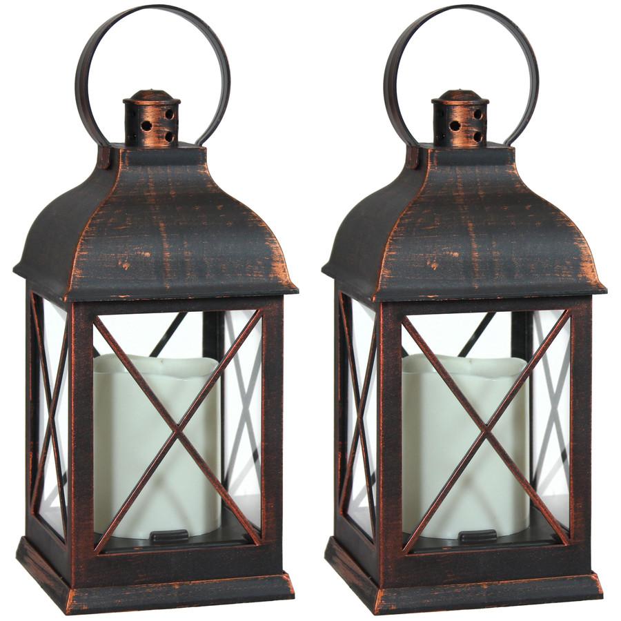 Setauket Indoor Decorative LED Candle Lantern, Set of 2
