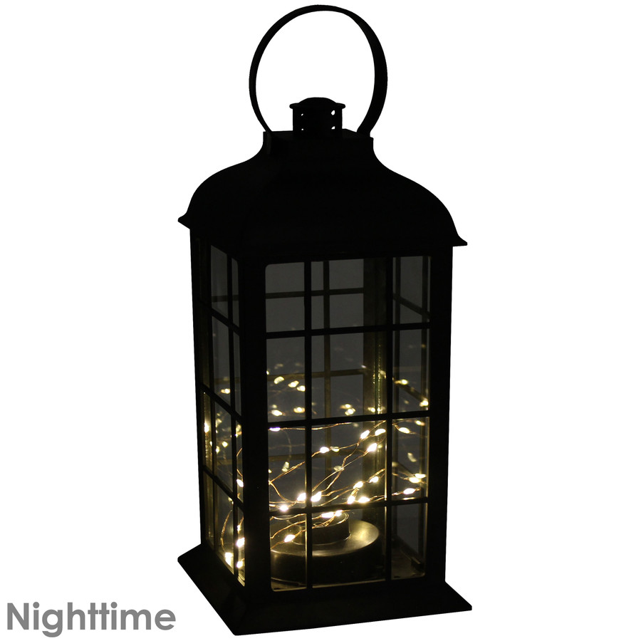 Oyster Bay Indoor Decorative LED Lantern, Nighttime