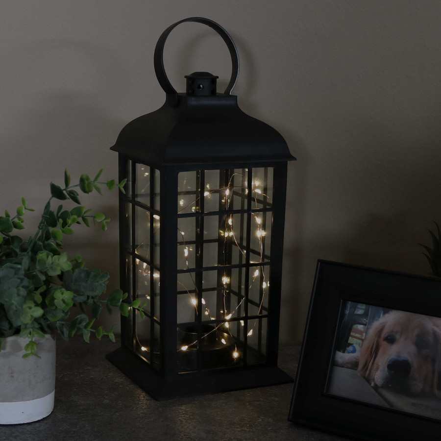 Oyster Bay Indoor Decorative LED Lantern, Single, Nighttime