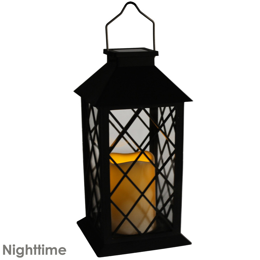 Concord Outdoor Solar LED Decorative Candle Lantern, Nighttime