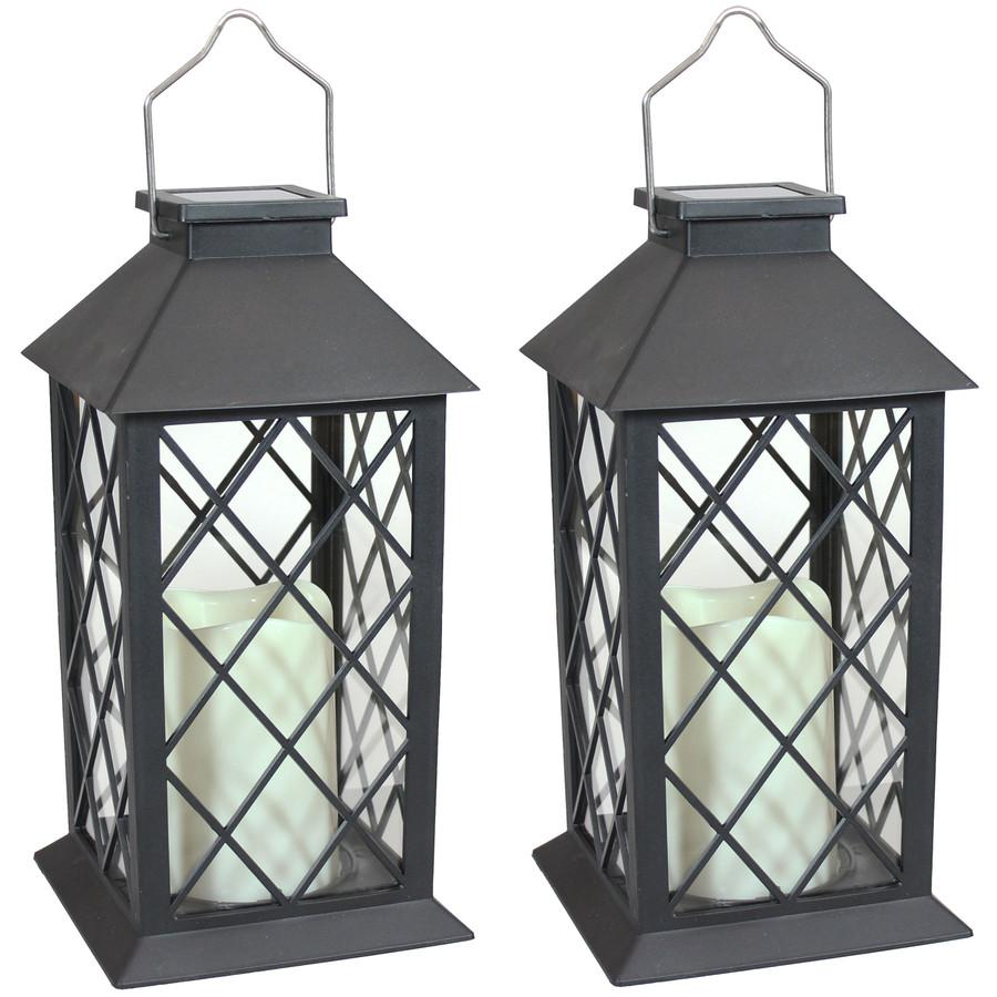 Concord Outdoor Solar LED Decorative Candle Lantern, Set of 2