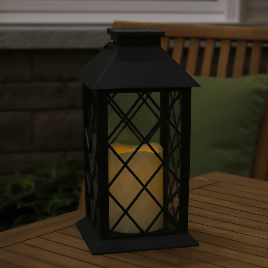 Concord Outdoor Solar LED Decorative Candle Lantern, Single, Nighttime View