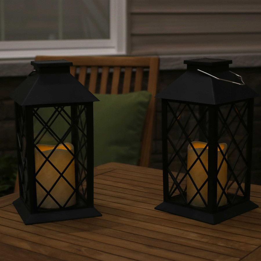 Concord Outdoor Solar LED Decorative Candle Lantern, Set of 2, Nighttime View