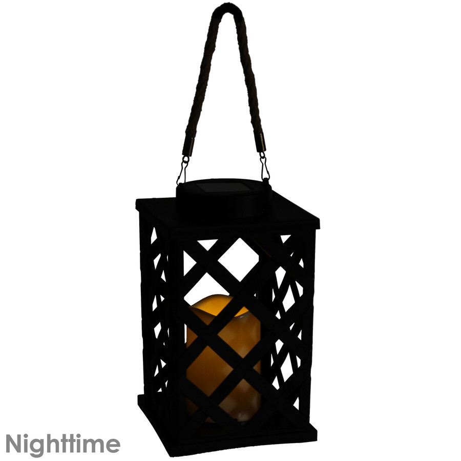 Modern Crosshatch Outdoor Solar LED Decorative Candle Lantern, Nighttime