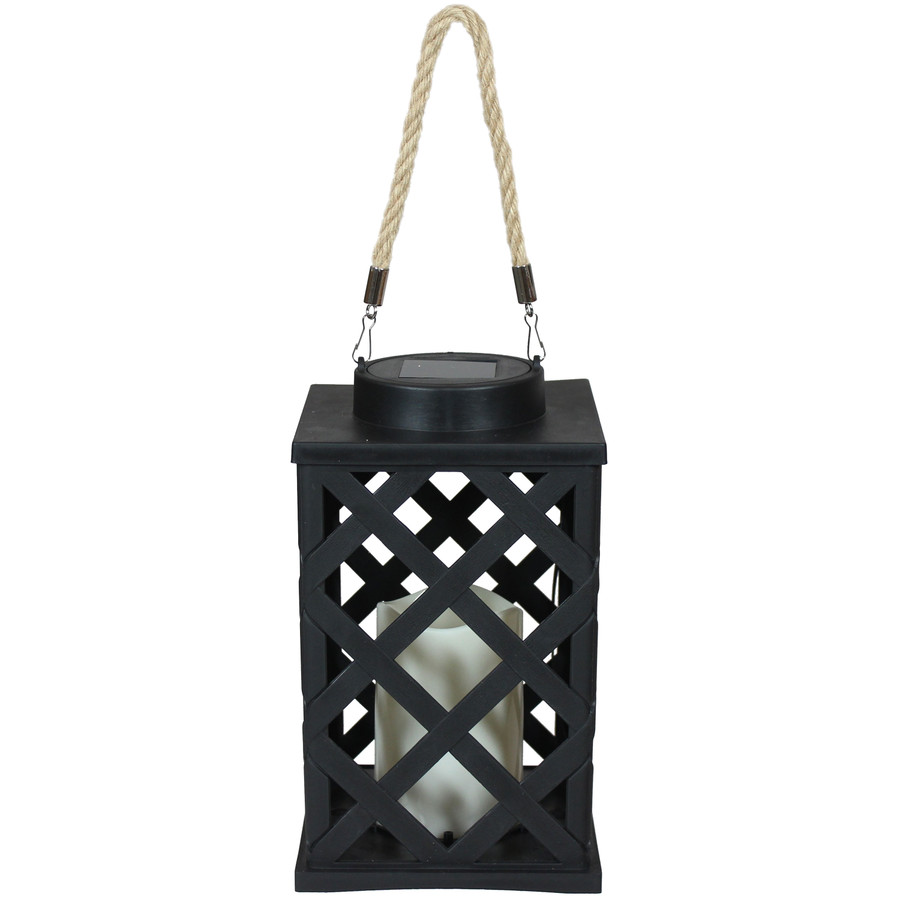 Modern Crosshatch Outdoor Solar LED Decorative Candle Lantern