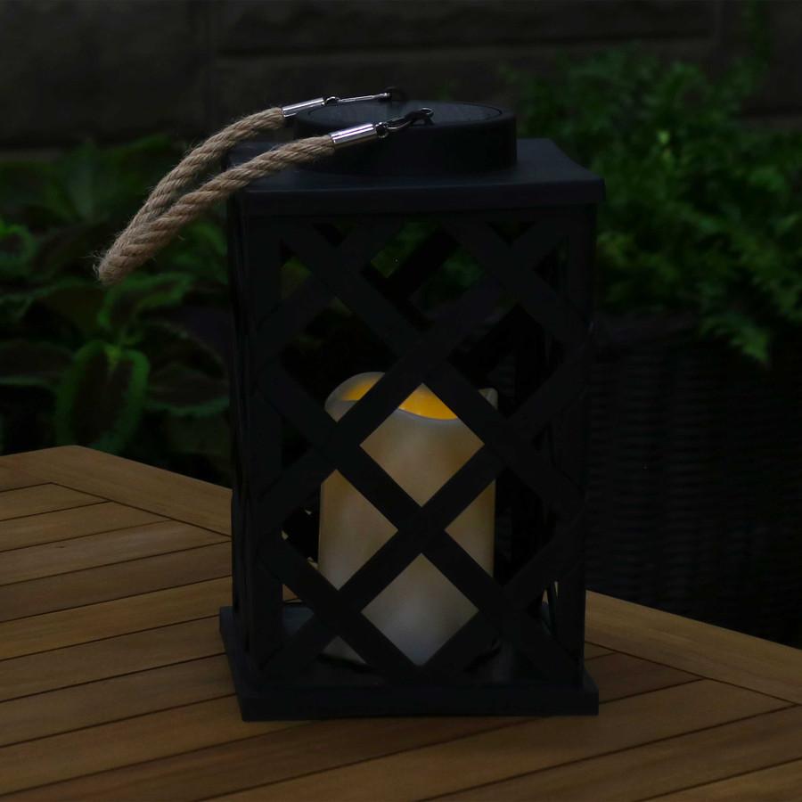 Modern Crosshatch Outdoor Solar LED Decorative Candle Lantern, Single, Nighttime