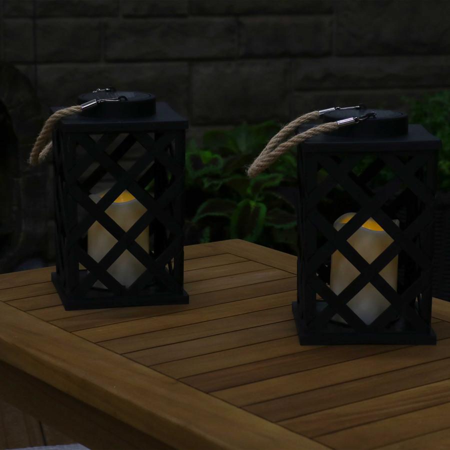 Modern Crosshatch Outdoor Solar LED Decorative Candle Lantern, Set of 2, Nighttime