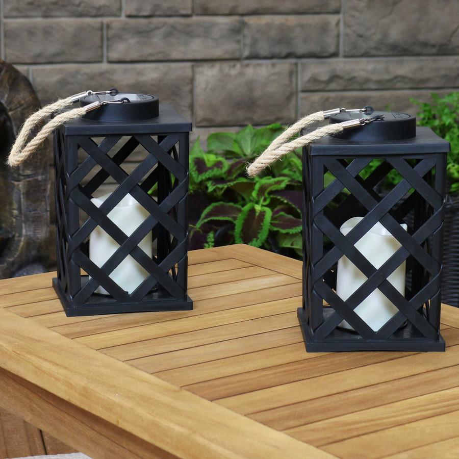 Modern Crosshatch Outdoor Solar LED Decorative Candle Lantern, Set of 2
