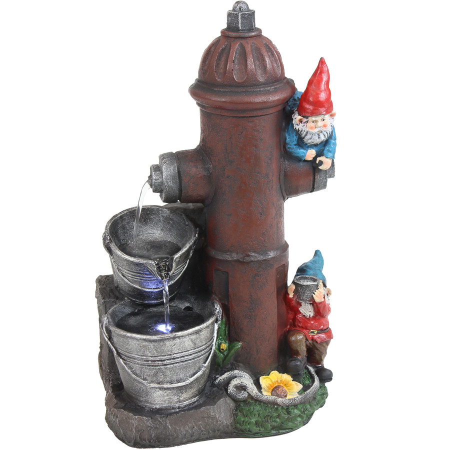Sunnydaze Fire Hydrant Gnomes Outdoor Water Fountain with LED Light, 16-Inch
