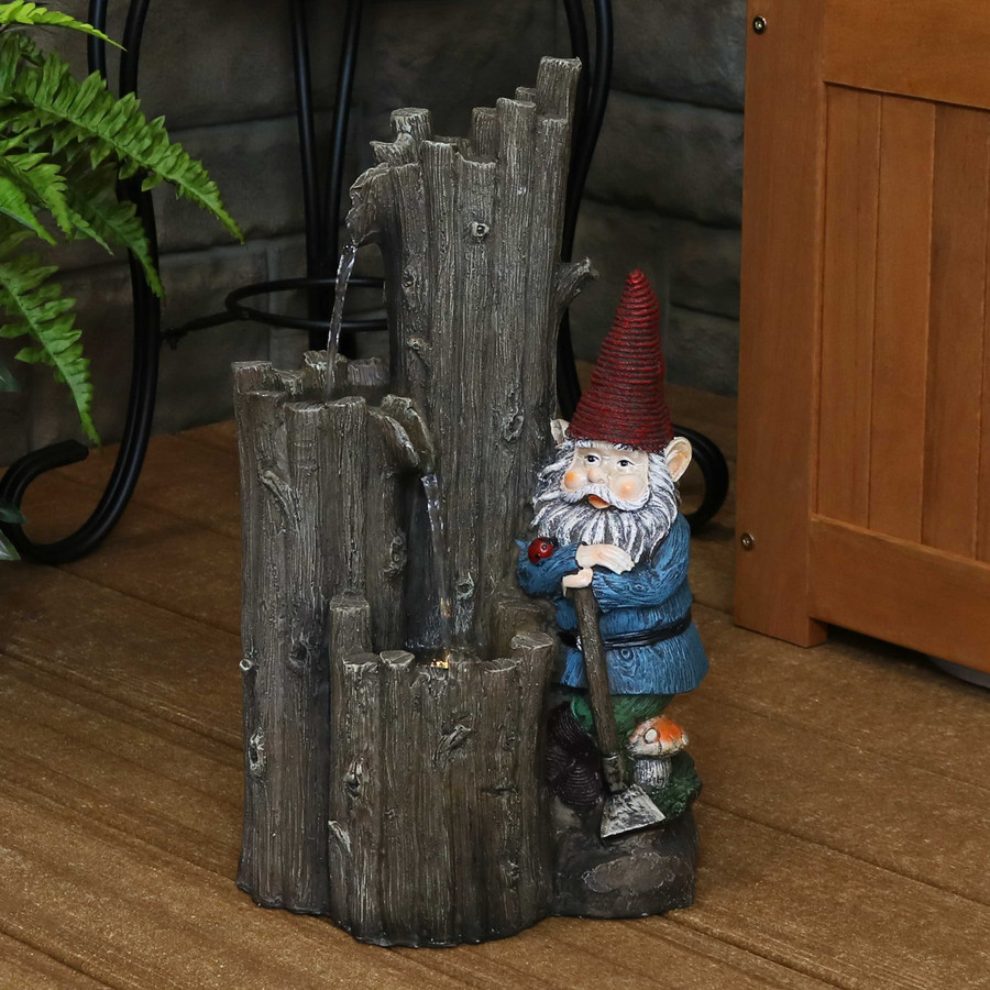 Sunnydaze Resting Gnome Outdoor Water Fountain with LED Light, 17-Inch