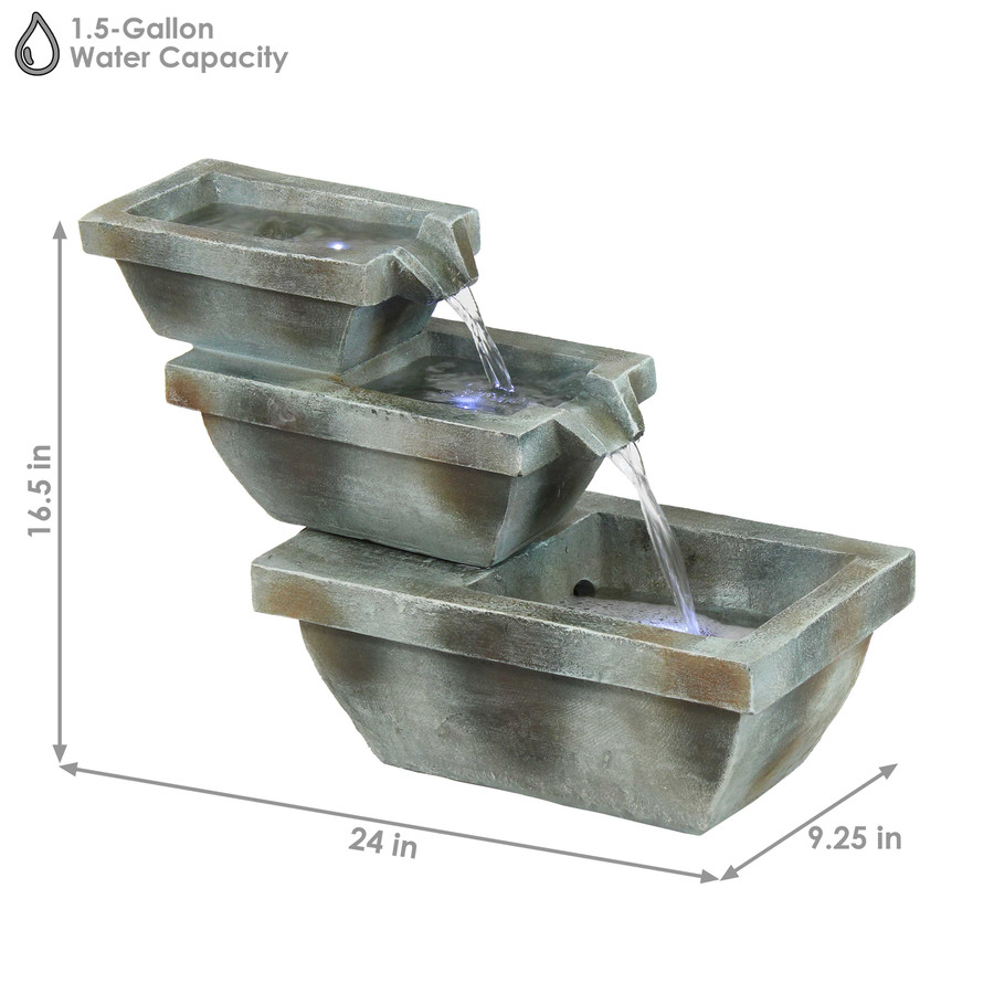 Sunnydaze Stacked Basin Trio Outdoor Fountain with LED Lights, 16-Inch