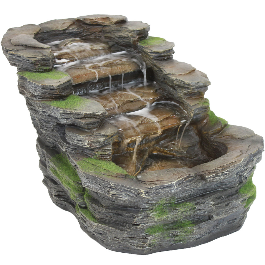 Sunnydaze Shale Falls Outdoor Fountain with LED Lights, 13-Inch