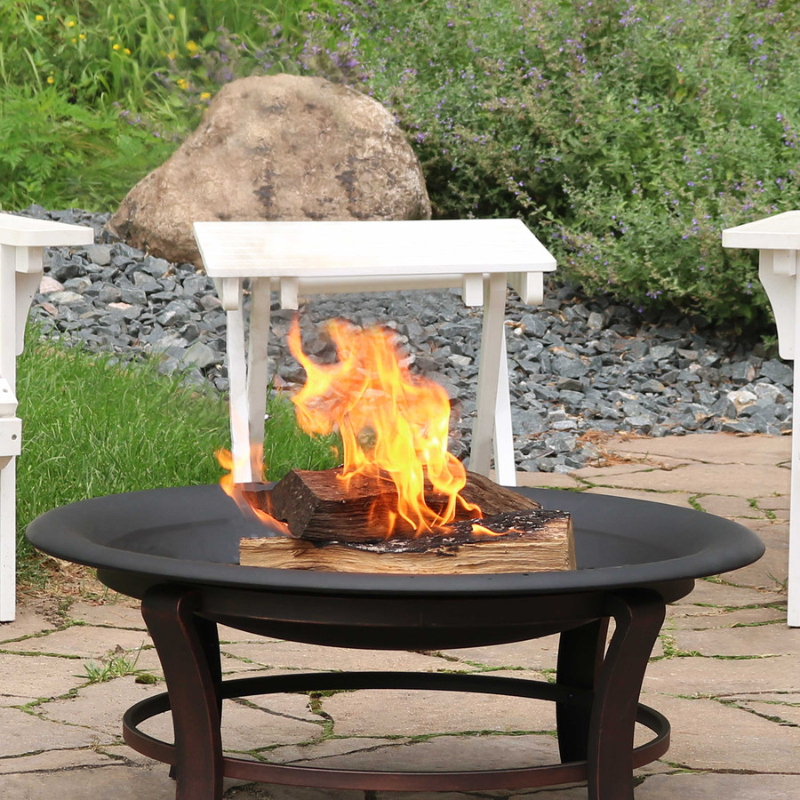 """Sunnydaze Outdoor Replacement Fire Bowl for DIY or Existing Fire Pits - Steel with High-Temperature Paint Finish - Round Wood-Burning Pit - 32"""""""
