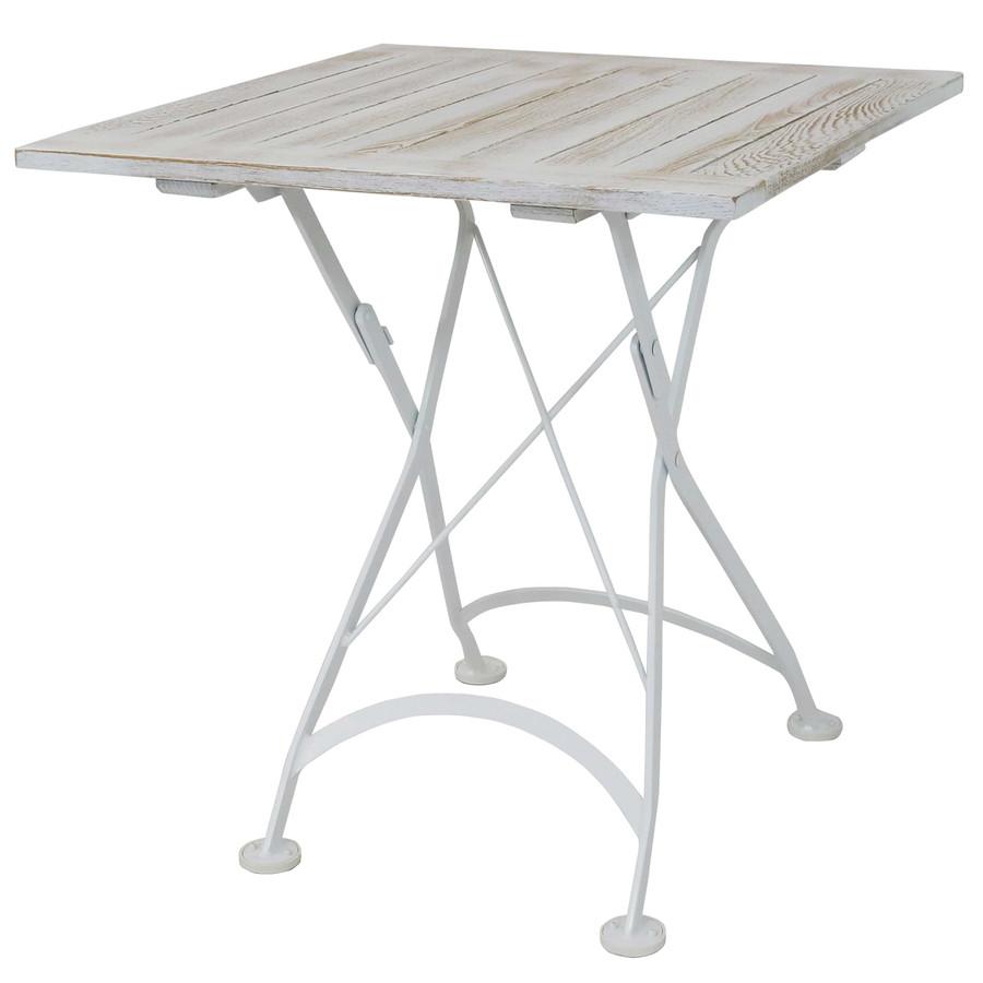 Sunnydaze White European Chestnut Wood Folding Square Bistro Dining Table - 28-Inch