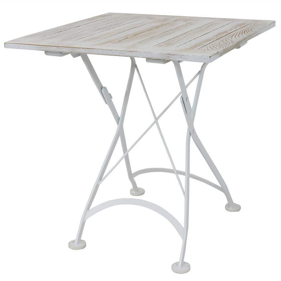 Sunnydaze White European Chestnut Wood Folding Square Bistro Dining Table - 28-Inch