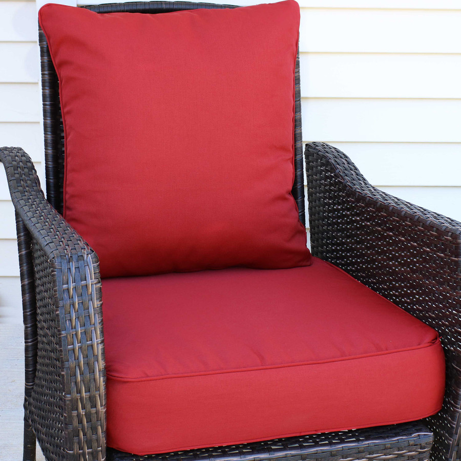 Back and Seat Cushion Set, Red (Chair Not Included)