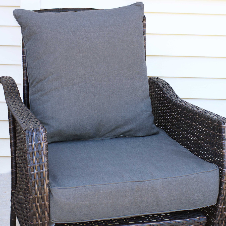 Back and Seat Cushion Set, Gray (Chair Not Included)