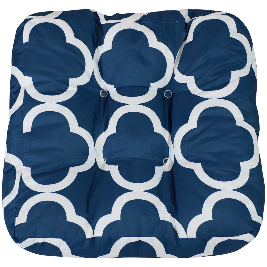 Navy Blue and White Quatrefoil