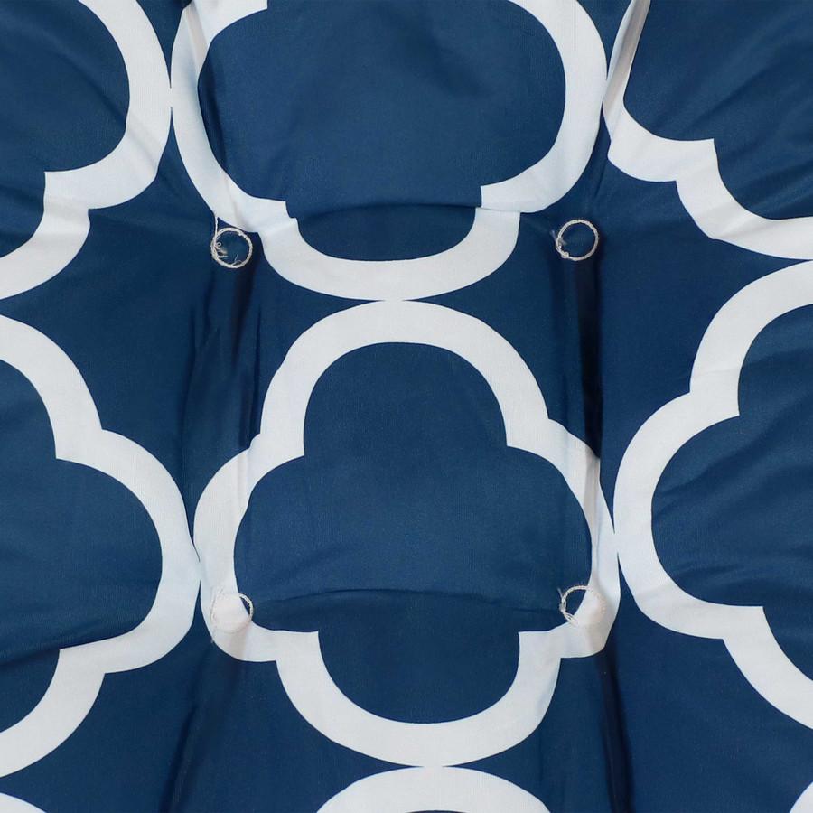Navy Blue and White Quatrefoil