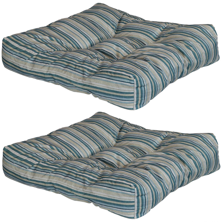 Set of 2 Tufted Outdoor Seat Cushions, Neutral Stripes