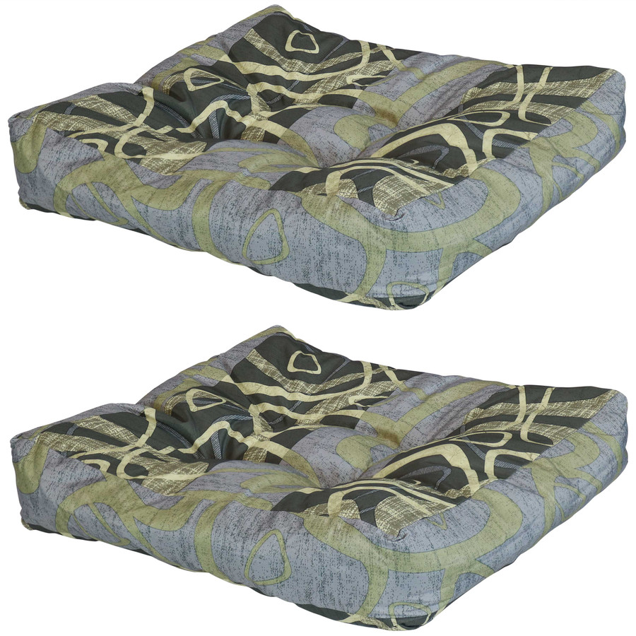 Set of 2 Tufted Outdoor Seat Cushions, Modern Jazz