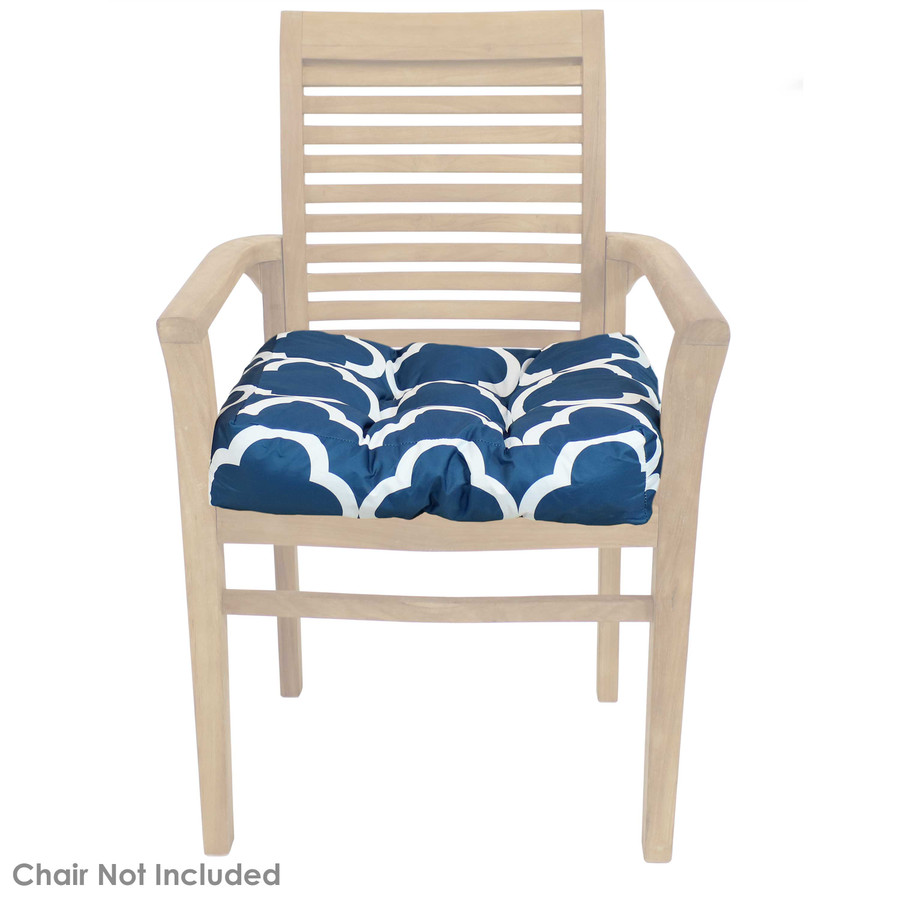 Navy Blue and White Quatrefoil Tufted Seat Cushion Shown on Chair (Chair Not Included)