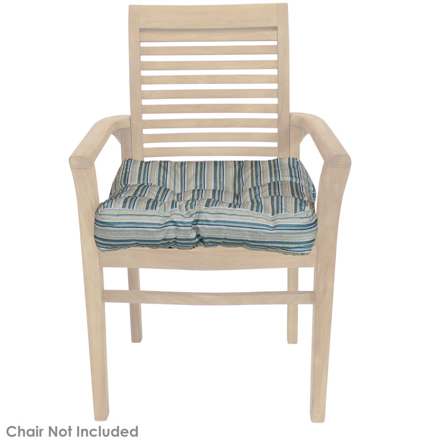 Neutral Stripes Tufted Seat Cushion Shown on Chair (Chair Not Included)
