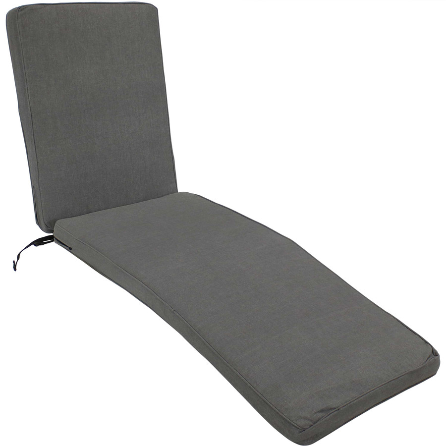 Outdoor Patio Chaise Lounge Cushion, Gray