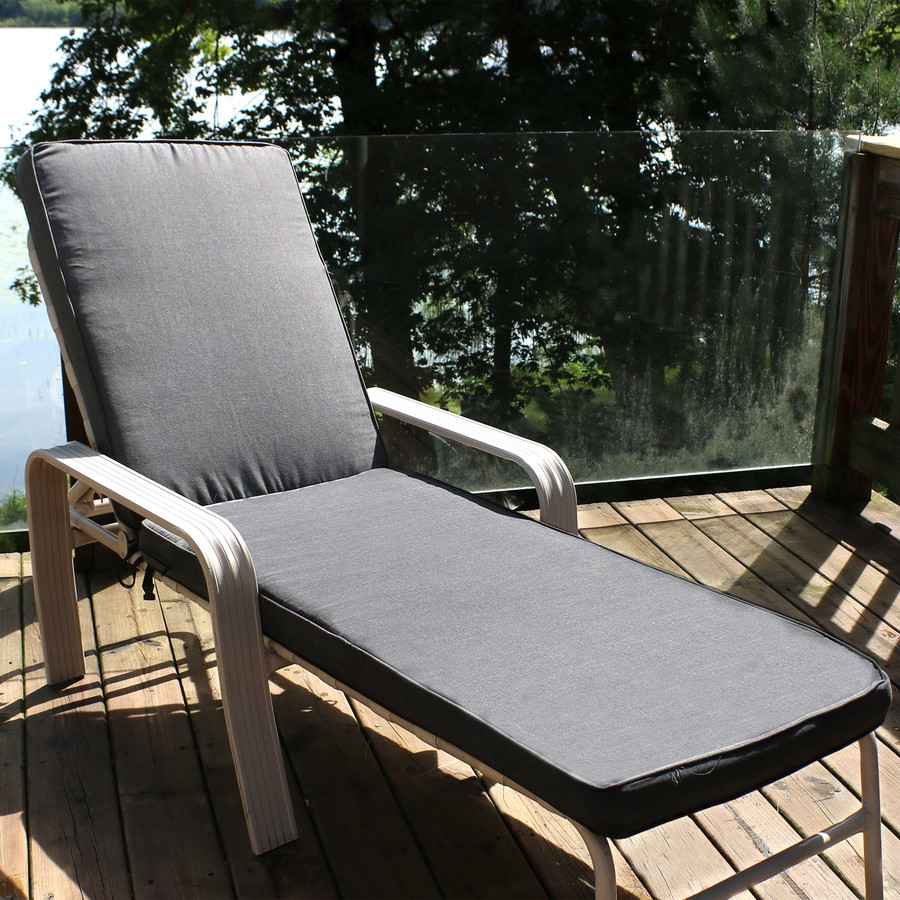 Outdoor Patio Chaise Lounge Cushion, Gray (Chair Not Included)