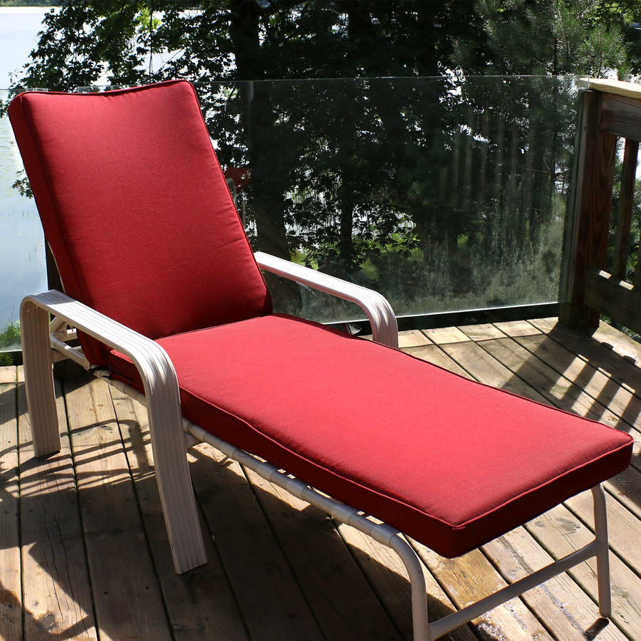 Outdoor Patio Chaise Lounge Cushion, Red (Chair Not Included)