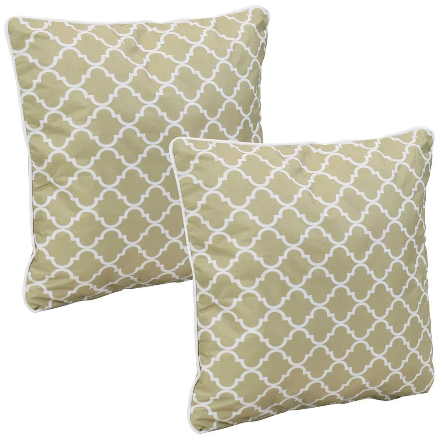 Outdoor Decorative Throw Pillows, Set of 2, Tan and White Lattice