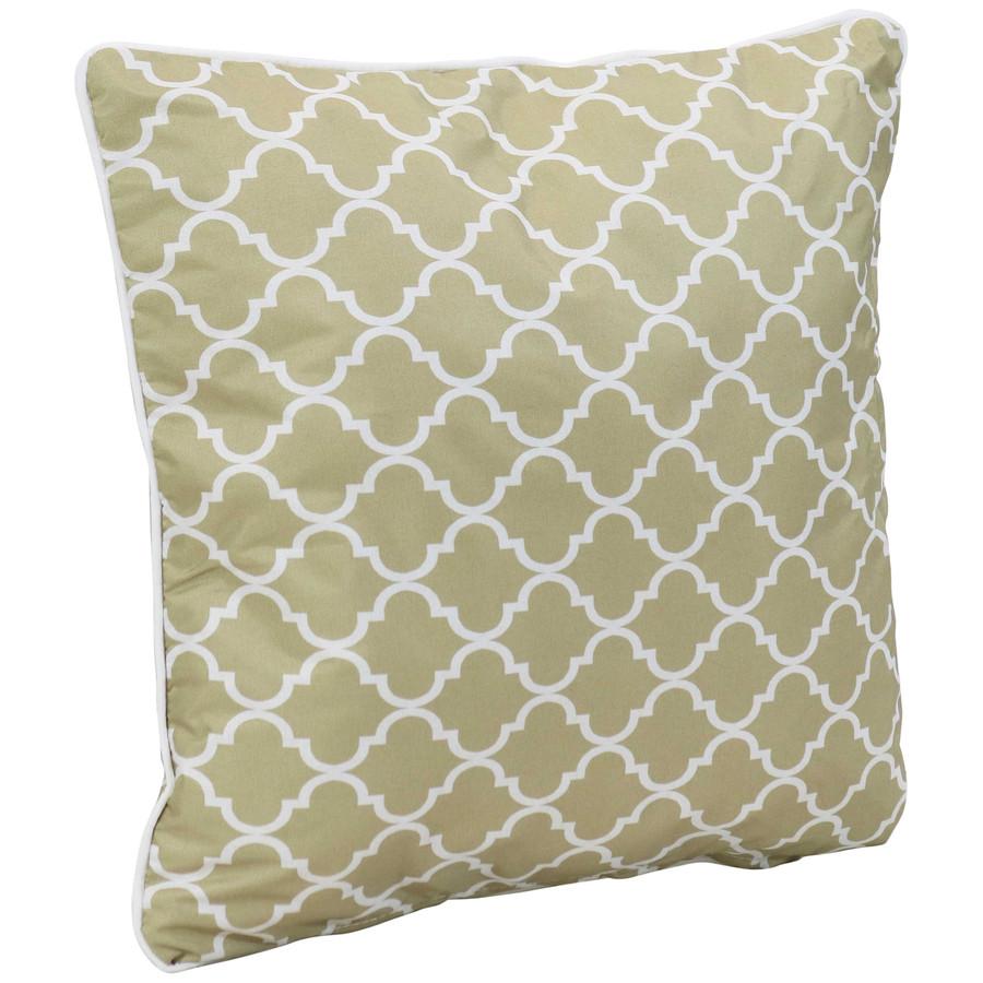 Single Pillow, Tan and White Lattice
