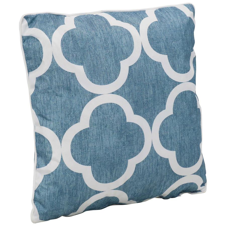 Single Pillow, Blue and White Quatrefoil