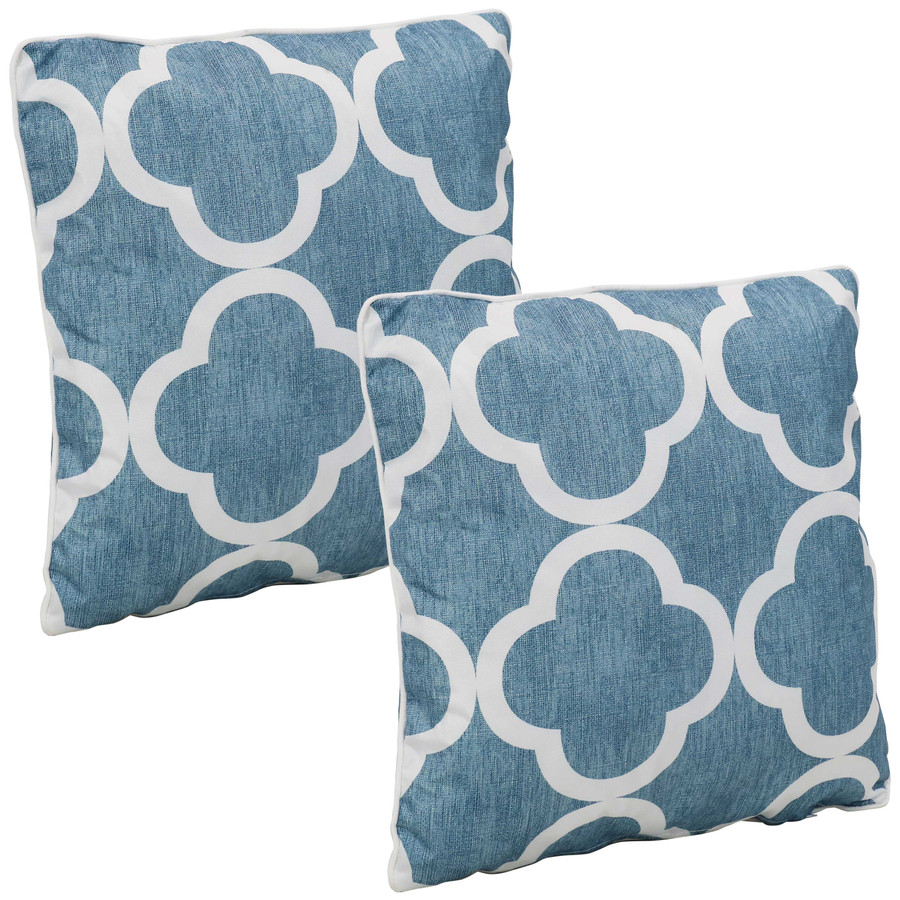 Outdoor Decorative Throw Pillows, Set of 2, Blue and White Quatrefoil