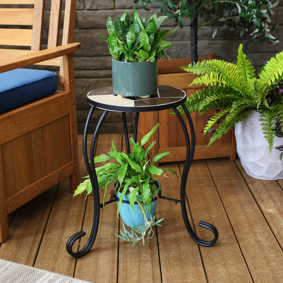 Shown in use as a dual tier plant stand