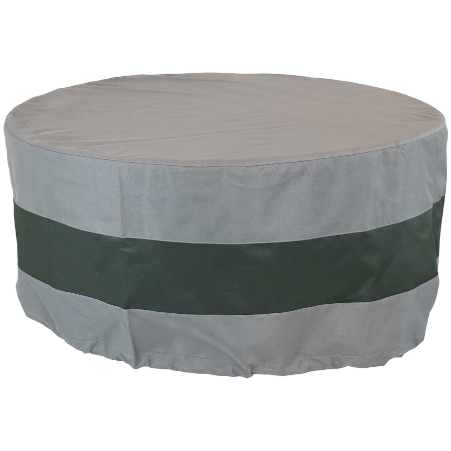 "Sunnydaze Round 2-Tone Outdoor Fire Pit Cover - Gray/Green Stripe - 60"" Diameter"