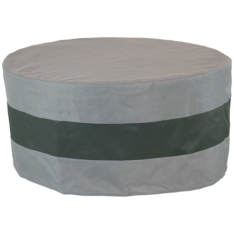 "Sunnydaze Round 2-Tone Outdoor Fire Pit Cover - Gray/Green Stripe - 80"" Diameter"