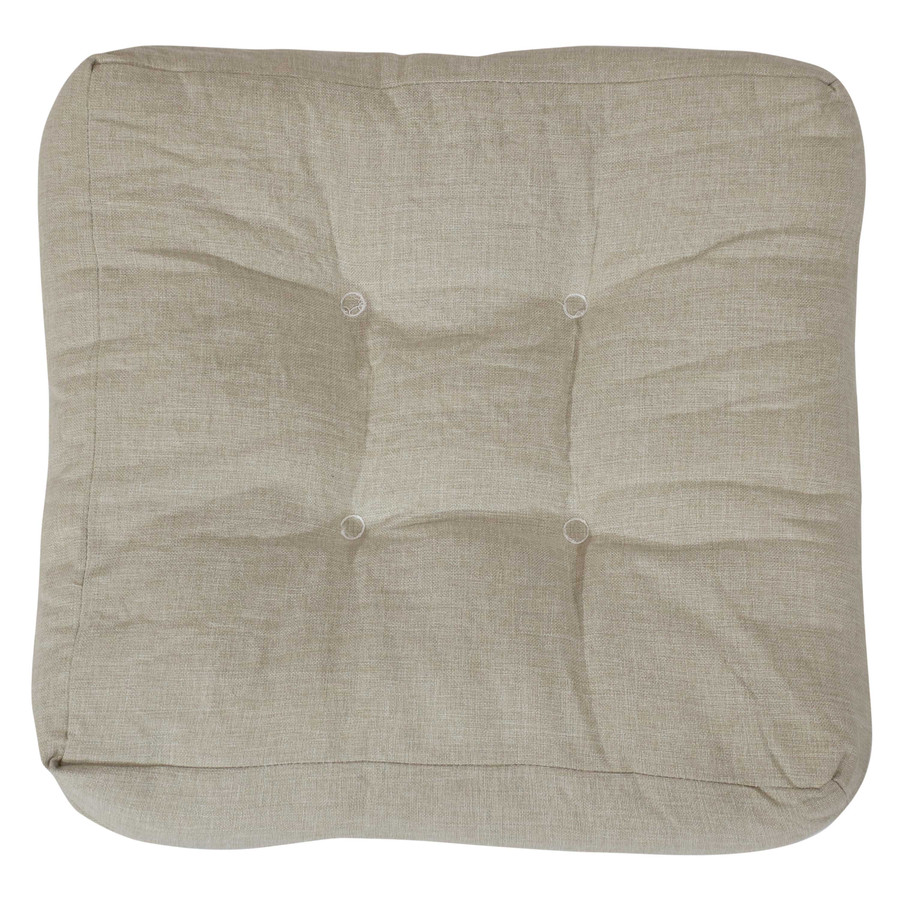 Beige Tufted Seat Cushion Shown on Chair (Chair Not Included)
