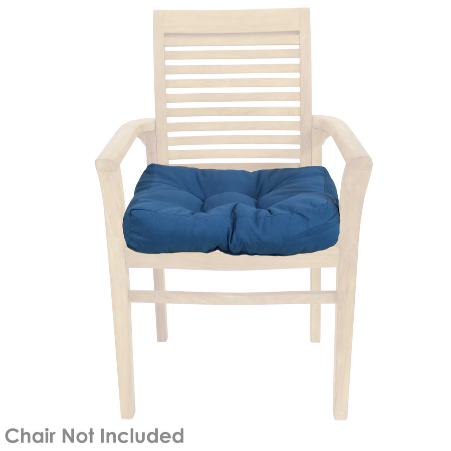 Blue Tufted Seat Cushion Shown on Chair (Chair Not Included)