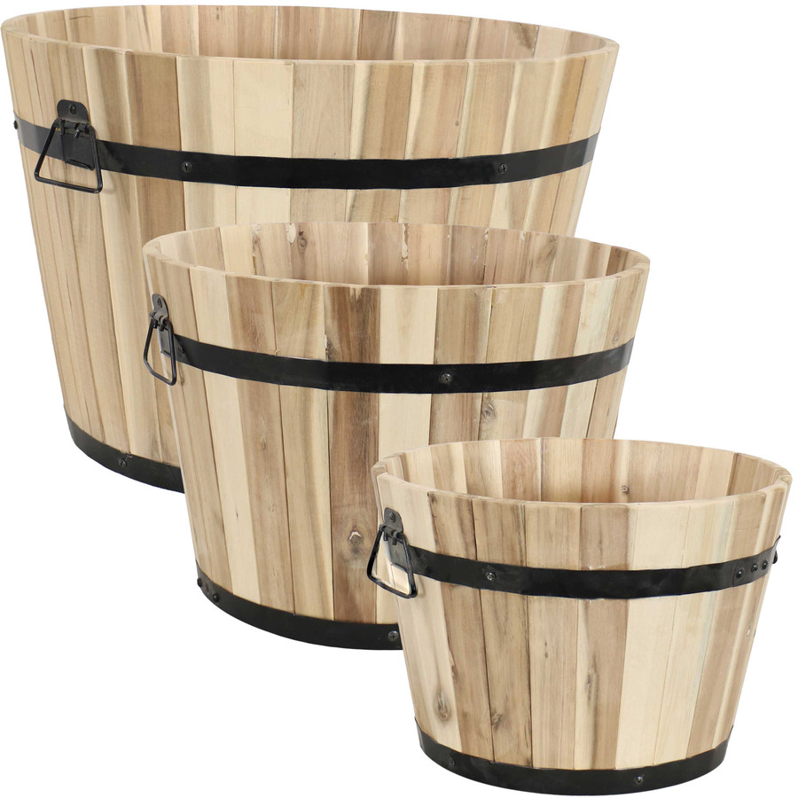 Sunnydaze Round Indoor/Outdoor Unfinished Acacia Wood Barrel Planters - Set of 3