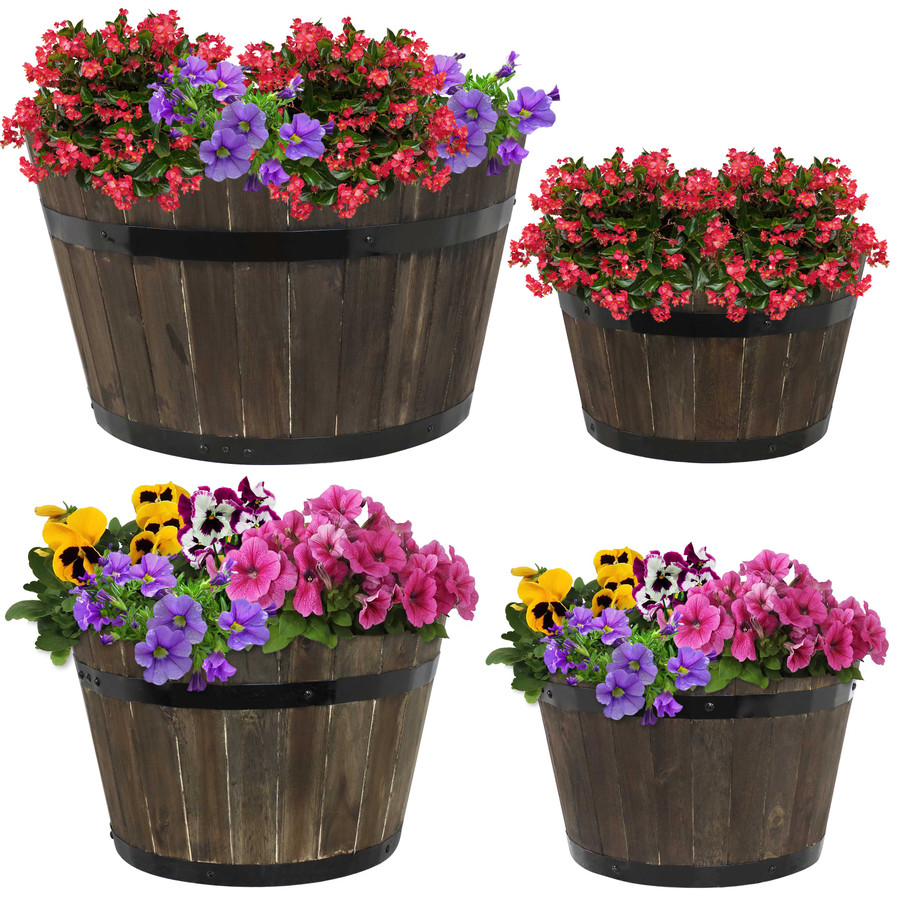 Sunnydaze Round Indoor/Outdoor Acacia Wood Barrel Planters - Set of 4